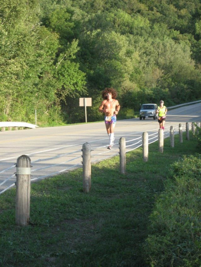 Trying to catch LMFAO on a hill on leg 2.